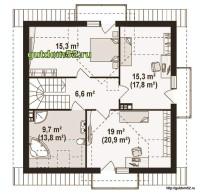 Планировка второго этажа дома Б18 из блоков