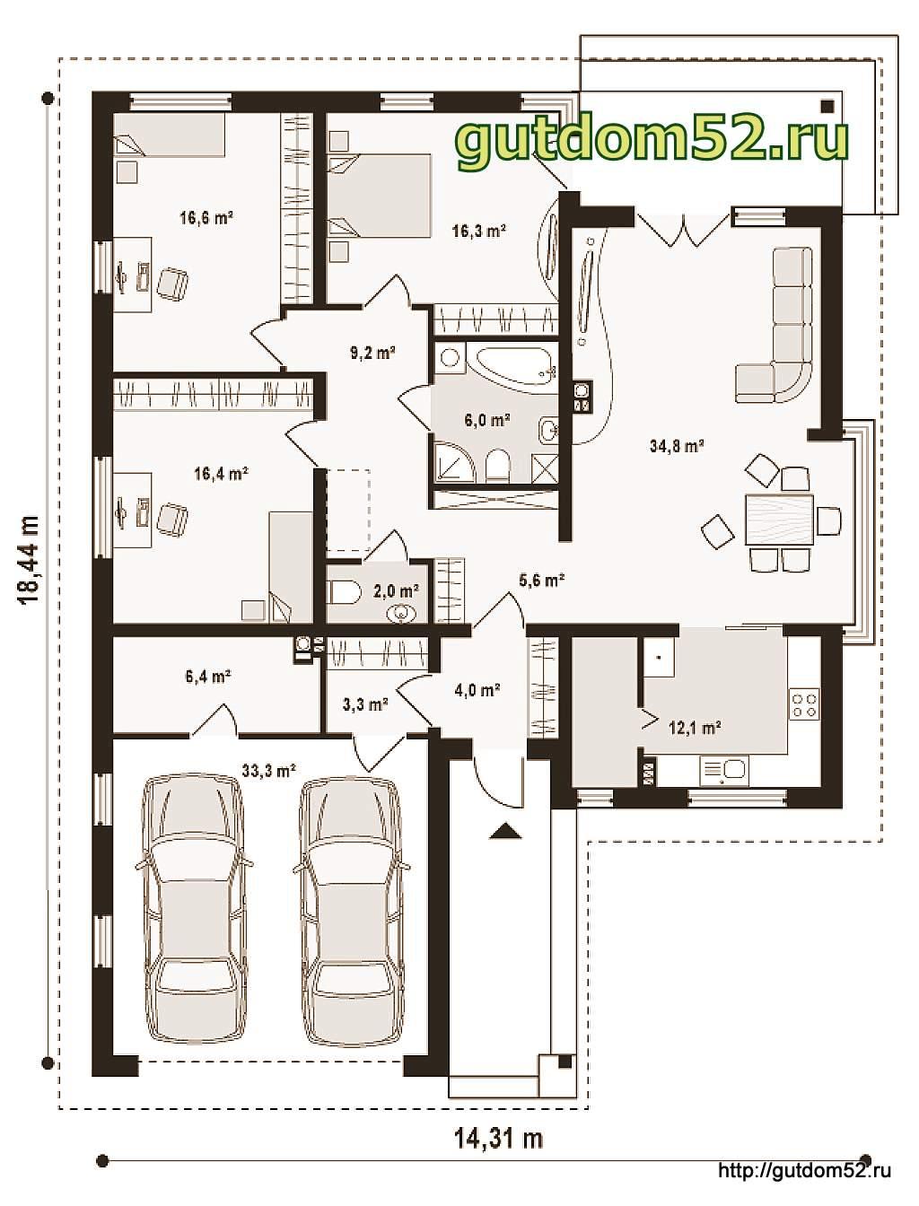 Планировки одноэтажных домов с гаражом фото