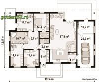 План и планировка одноэтажного дома