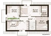 План мансарды дома из блоков
