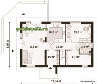План первого этажа дома из блоков