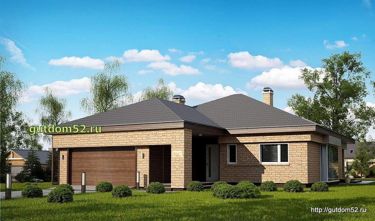 Дизайн проект одноэтажного дома с гаражом