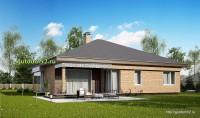 Проект одноэтажного дома с гаражом площадью 166 м2, эскиз 2