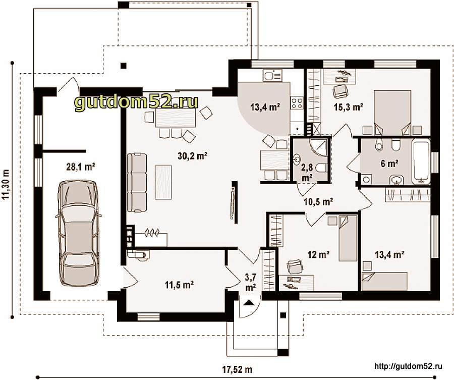 Планировка одноэтажного дома
