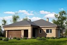 Проект одноэтажного дома с гаражом 166 м2, 220
