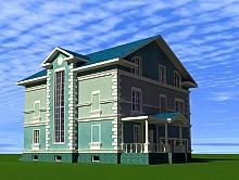 проект двухэтажного дома с мансардой 383 м2, 220