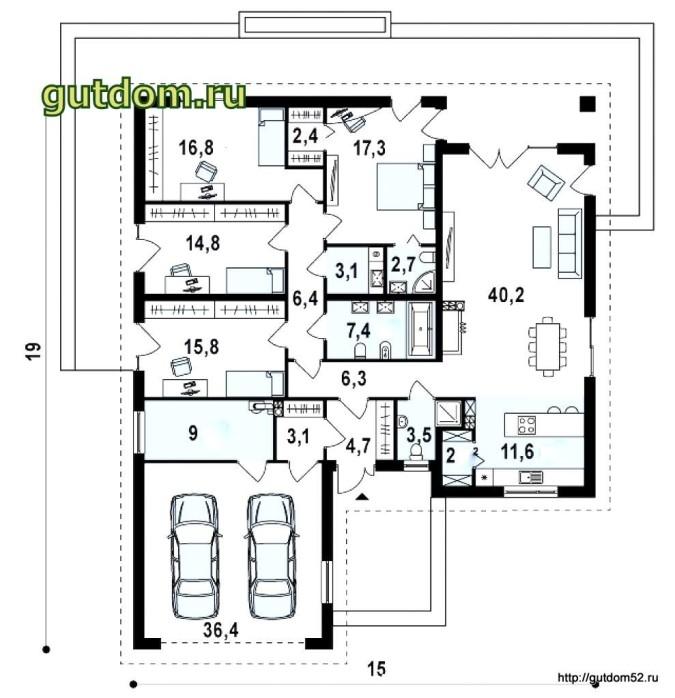 план одноэтажного дома 200 м2